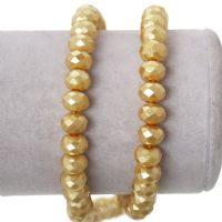 "144 Champagne Gold Glass Abacus Faceted Pearl 8.0mm( 3/8"") x 6.0mm( 2/8""), Hole:1.0mm"